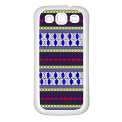 Colorful Retro Geometric Pattern Samsung Galaxy S3 Back Case (White)