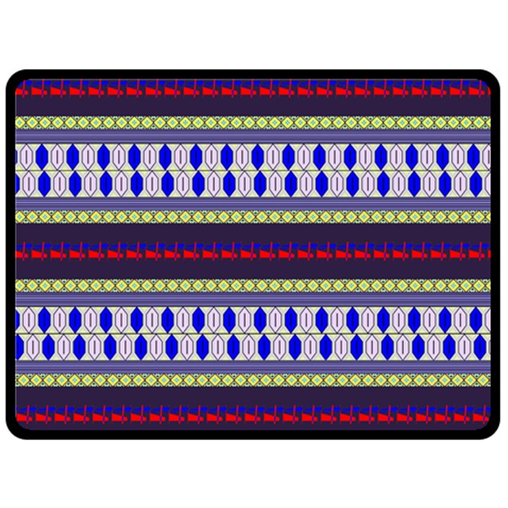 Colorful Retro Geometric Pattern Double Sided Fleece Blanket (Large)