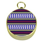Colorful Retro Geometric Pattern Gold Compasses Front