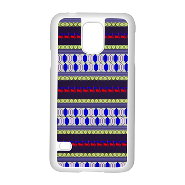 Colorful Retro Geometric Pattern Samsung Galaxy S5 Case (White)