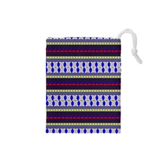 Colorful Retro Geometric Pattern Drawstring Pouches (small)