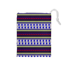 Colorful Retro Geometric Pattern Drawstring Pouches (medium)