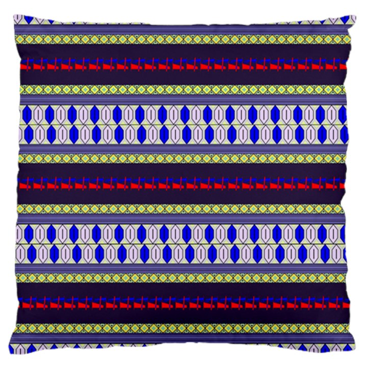 Colorful Retro Geometric Pattern Large Flano Cushion Case (One Side)