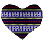 Colorful Retro Geometric Pattern Large 19  Premium Flano Heart Shape Cushions Front