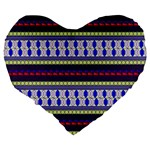 Colorful Retro Geometric Pattern Large 19  Premium Flano Heart Shape Cushions Back