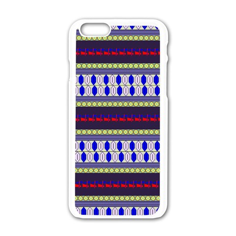 Colorful Retro Geometric Pattern Apple iPhone 6/6S White Enamel Case