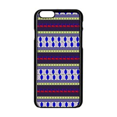 Colorful Retro Geometric Pattern Apple iPhone 6/6S Black Enamel Case