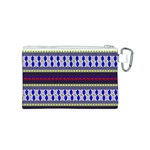 Colorful Retro Geometric Pattern Canvas Cosmetic Bag (S) Back