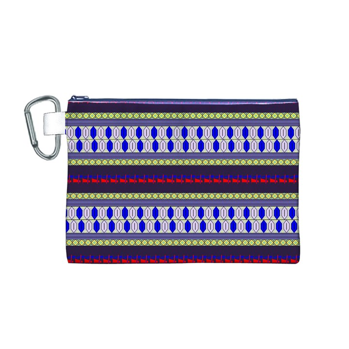 Colorful Retro Geometric Pattern Canvas Cosmetic Bag (M)