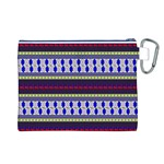 Colorful Retro Geometric Pattern Canvas Cosmetic Bag (L) Back