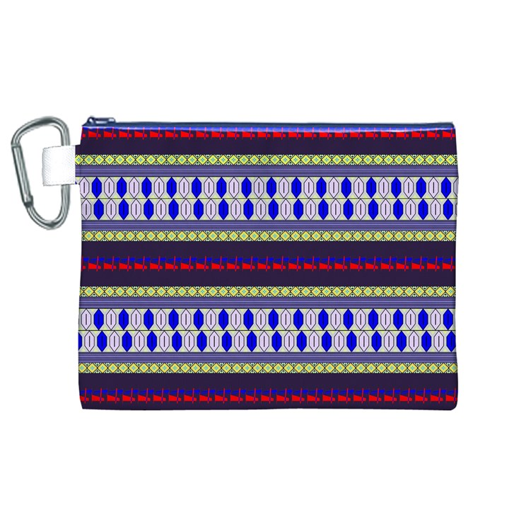 Colorful Retro Geometric Pattern Canvas Cosmetic Bag (XL)