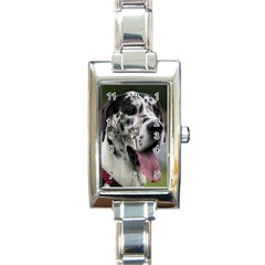 Great Dane harlequin  Rectangle Italian Charm Watch