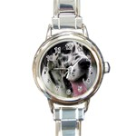 Great Dane harlequin  Round Italian Charm Watch Front