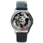 Great Dane harlequin  Round Metal Watch Front