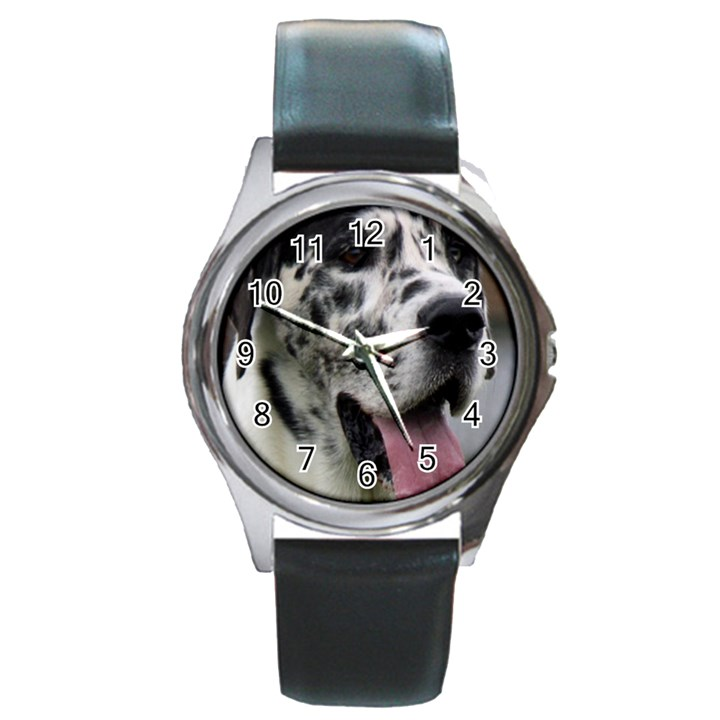 Great Dane harlequin  Round Metal Watch