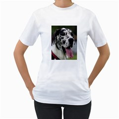 Great Dane harlequin  Women s T-Shirt (White) (Two Sided)