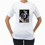 Great Dane harlequin  Women s T-Shirt (White) (Two Sided) Front
