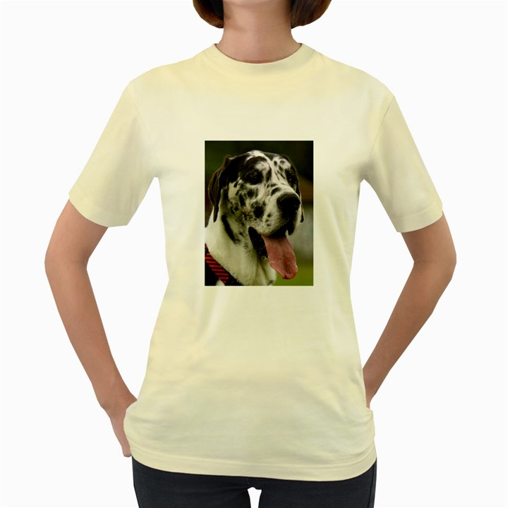 Great Dane harlequin  Women s Yellow T-Shirt