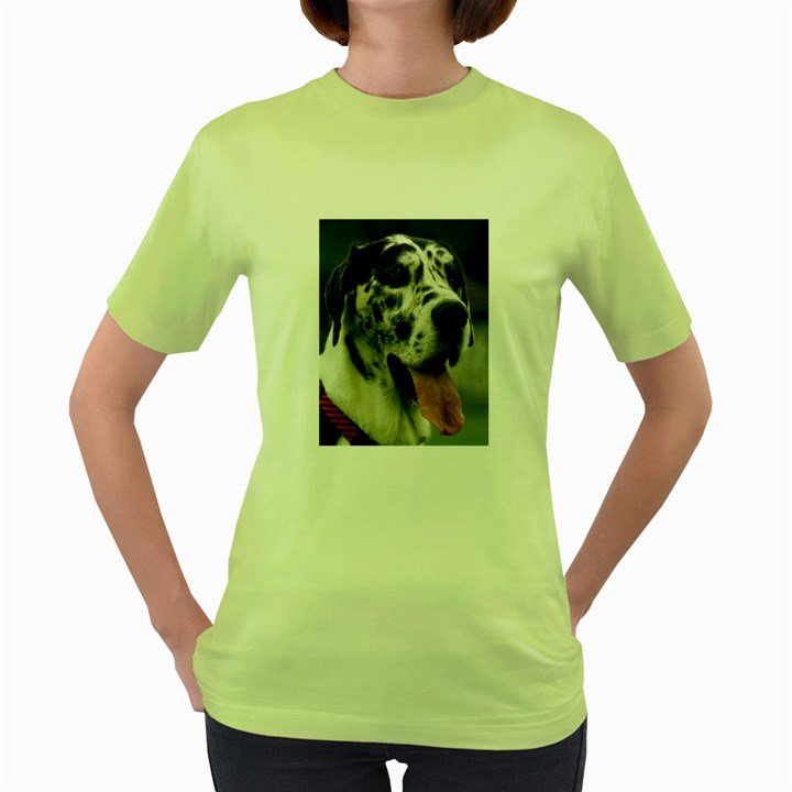 Great Dane harlequin  Women s Green T-Shirt