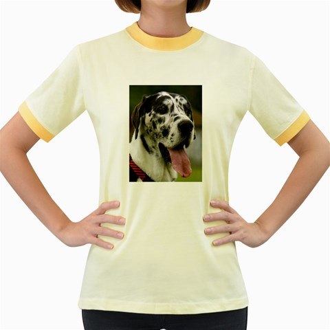 Great Dane harlequin  Women s Fitted Ringer T-Shirts