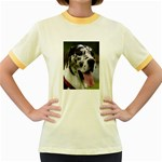 Great Dane harlequin  Women s Fitted Ringer T-Shirts Front