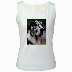 Great Dane harlequin  Women s White Tank Top