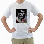 Great Dane harlequin  Men s T-Shirt (White) (Two Sided) Front