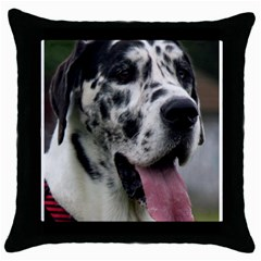 Great Dane harlequin  Throw Pillow Case (Black)