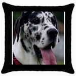 Great Dane harlequin  Throw Pillow Case (Black) Front