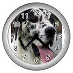 Great Dane harlequin  Wall Clocks (Silver)  Front