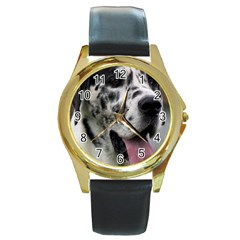 Great Dane harlequin  Round Gold Metal Watch