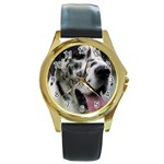 Great Dane harlequin  Round Gold Metal Watch Front