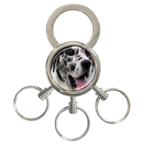 Great Dane harlequin  3-Ring Key Chains