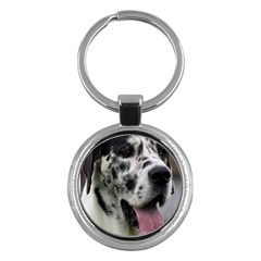 Great Dane harlequin  Key Chains (Round)