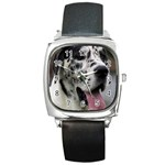 Great Dane harlequin  Square Metal Watch Front