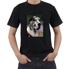 Great Dane harlequin  Men s T-Shirt (Black) (Two Sided)