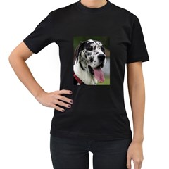 Great Dane harlequin  Women s T-Shirt (Black) (Two Sided)