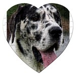 Great Dane harlequin  Jigsaw Puzzle (Heart) Front