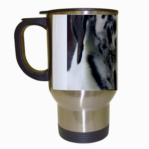 Great Dane harlequin  Travel Mugs (White)
