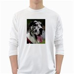 Great Dane harlequin  White Long Sleeve T-Shirts Front