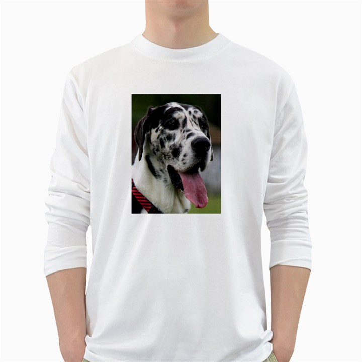 Great Dane harlequin  White Long Sleeve T-Shirts