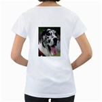 Great Dane harlequin  Women s Loose-Fit T-Shirt (White) Back