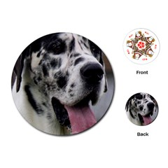 Great Dane harlequin  Playing Cards (Round)