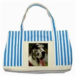 Great Dane harlequin  Striped Blue Tote Bag Front