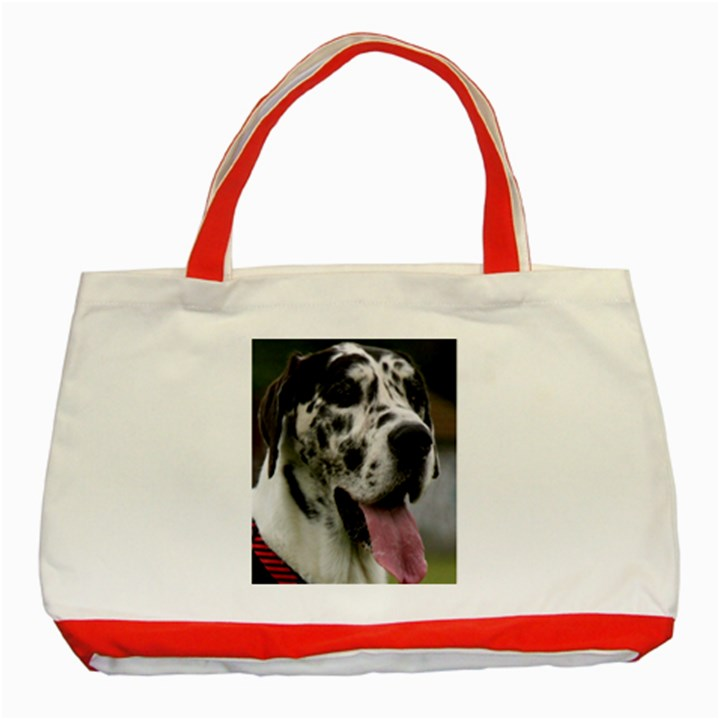 Great Dane harlequin  Classic Tote Bag (Red)