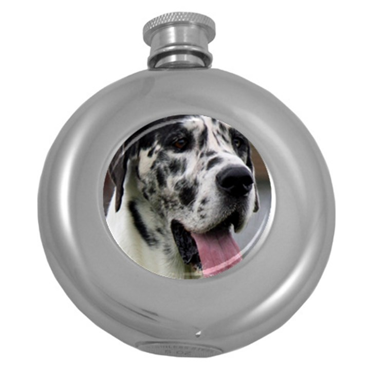 Great Dane harlequin  Round Hip Flask (5 oz)