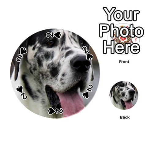 Great Dane harlequin  Playing Cards 54 (Round)