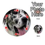 Great Dane harlequin  Playing Cards 54 (Round)  Front - HeartJ