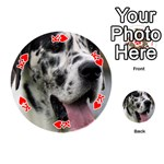 Great Dane harlequin  Playing Cards 54 (Round)  Front - HeartK