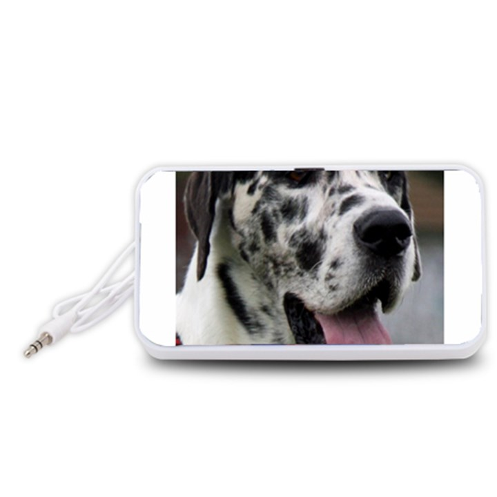 Great Dane harlequin  Portable Speaker (White)